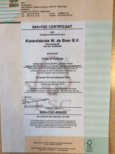 Kdb FSC certificaat Kistenfabriek De Boer Bv